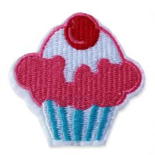 CHERRY TOP CUPCAKE MOTIF IRON ON EMBROIDERED PATCH APPLIQUE